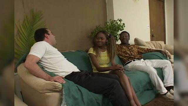 Black Teen and Two Man Anal