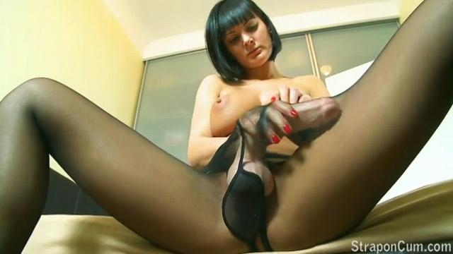 strapon cum Black nylons filled with hot bubbly strapon cu