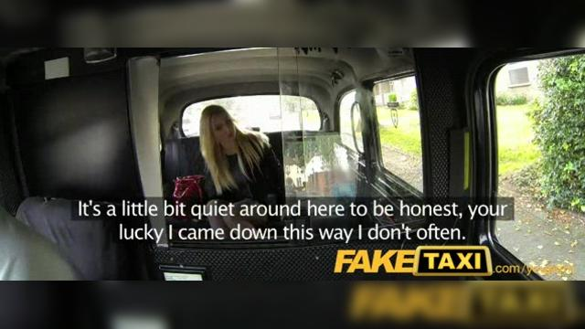 Blonde bombshell with great tits gets beautiful creampie in taxi