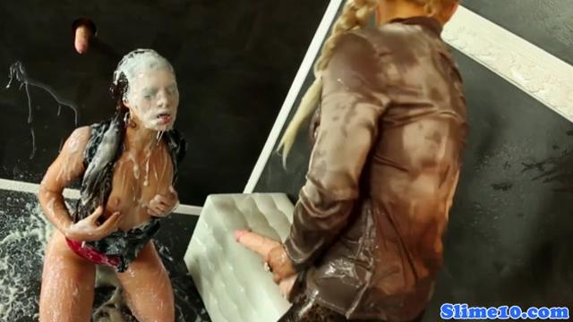 Tiffany Doll showered with thick cum