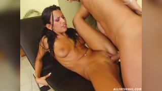 Anal loving hottie Black Puma gets a drip of cock cream from