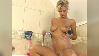 Asian blonde fucking in shower