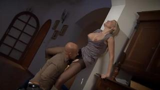 Nice blonde in sexy nylons is fucked by new neighbor Panty