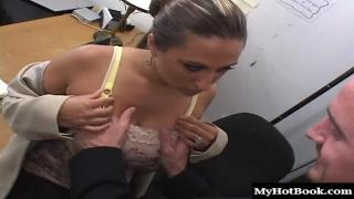 Experience cockslut Allisandra guides her young stud to her heavy round tits, then