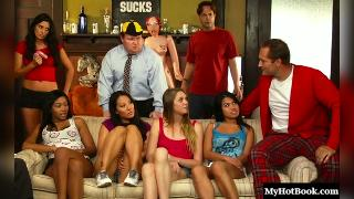 Asa Akira and Jessie Andrews are blonde and Asian college coeds who are