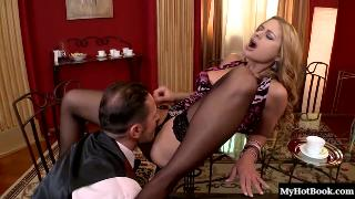 Sexy rich blonde, Carmen, gets it on with her Butler, having him eat