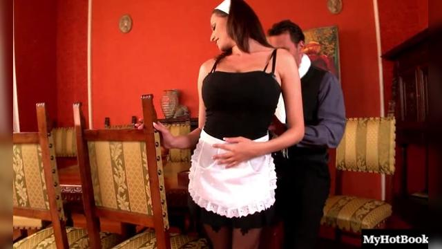 Sexy brunette maid with big boobs, Candy, attracts the attention of her employer,